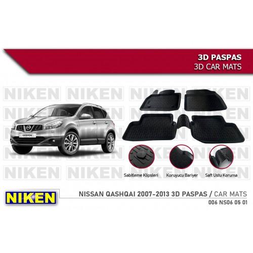 Nissan QASHQAI (2007-2014) 3D Havuzlu Paspas Siyah