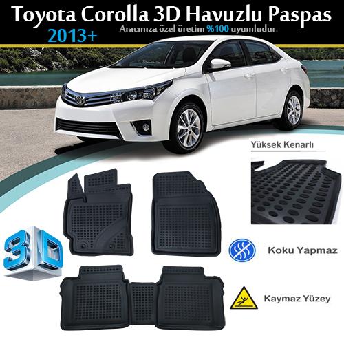 Toyota COROLLA SEDAN (2013-2018) Eko Havuzlu Paspas Siyah