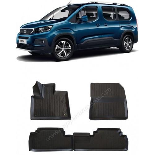 Peugeot RIFTER KOLTUKLU VAN (2019+) Havuzlu Paspas Siyah