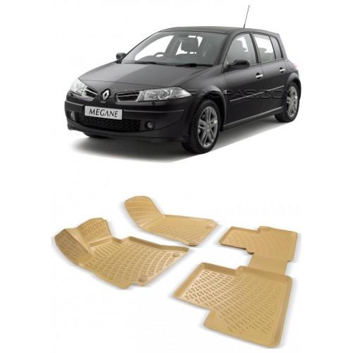 Renault MEGANE 2 HB (2004-2009) 3D Havuzlu Paspas Bej