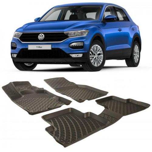 Volkswagen T-ROC (2019+) 3D Havuzlu Paspas Siyah
