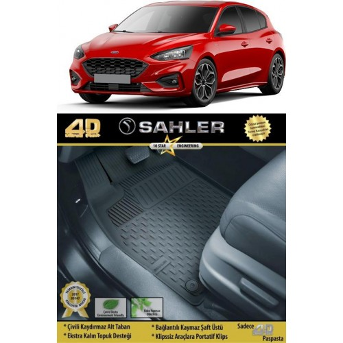 Ford FOCUS 5 HB (2018-2020) Sahler 4.5D Havuzlu Paspas Siyah