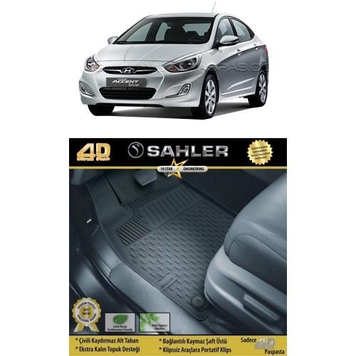 Hyundai ACCENT BLUE SEDAN (2011+) Sahler 4.5D Havuzlu Paspas Siyah